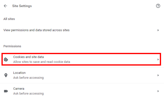Cookies Site Data